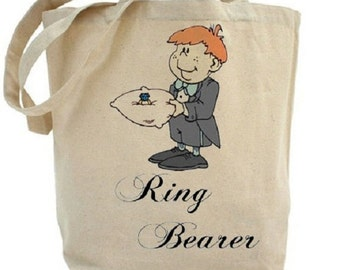 Ring Bearer - Wedding Tote - Cotton Canvas Tote Bag - Gift Bags - Wedding Favors - Bridal Party Gifts