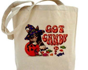 Halloween Tote - Cotton Canvas Tote Bag - Trick or Treat Bag - Gift Bag