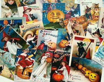 "25 Vintage Halloween Stickers, 1.5"" x 2"" (38x51mm), Vintage Halloween Card Stickers, Halloween stickers, Recycled vintage Halloween"