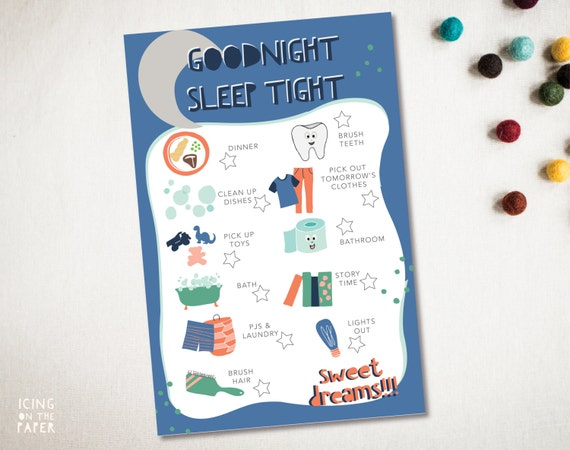 boys good night chore chart checklist