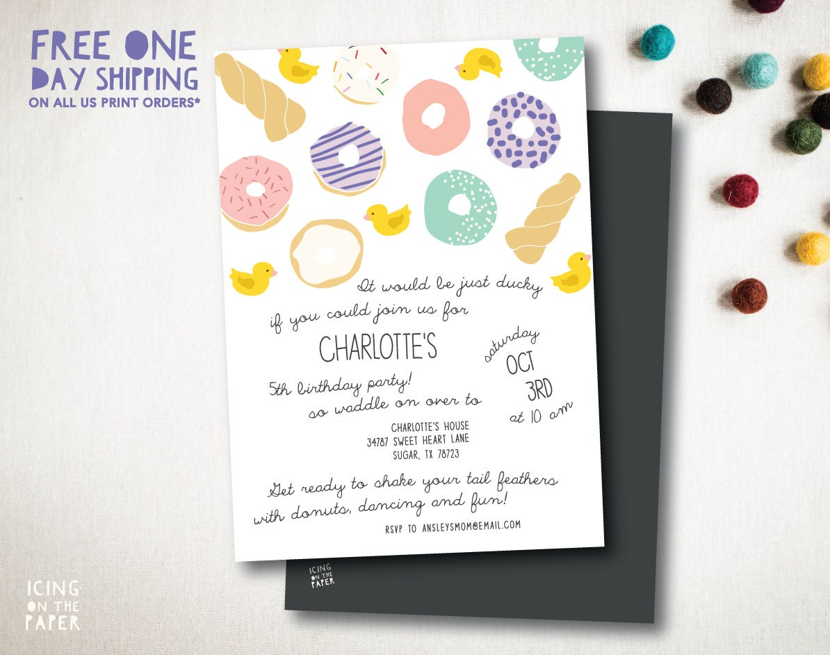 Ducks and Donuts Birthday Party Invitation - Ducks and Donuts Baby ...