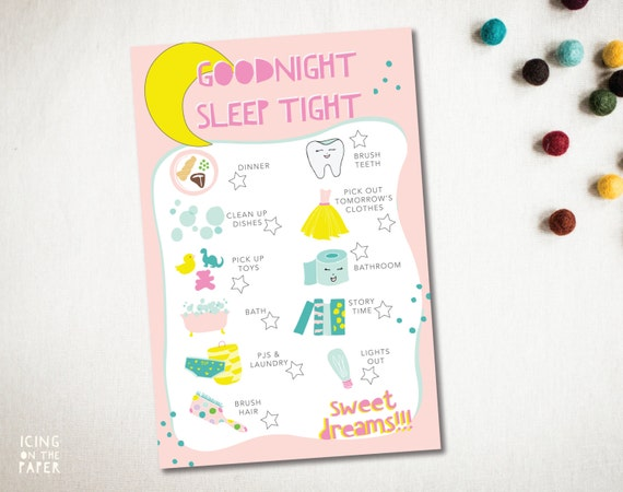 girls good night chore chart checklist