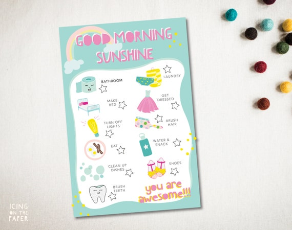 girls get ready morning chore chart checklist