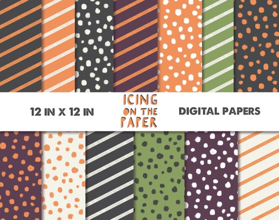 Spooktakular Halloween Digital Papers in orange, black, white, green, purple - 12 inch x 12 inch printable jpg files