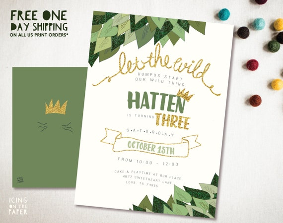 Glitter Where The Wild Things Are Invitation