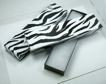 2 Zebra Striped Gift Boxes- Cotton Lined Bracelet Necklace Jewelry Boxes