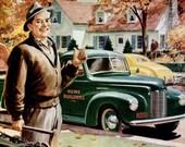 1945 International Trucks Advertisement Print Ad Poster Mechanic Shop Garage Automotive Car Nostalgic Typography Wall Art Home Decor