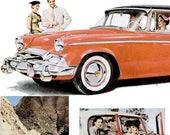 1955 Studebaker Car Minute Maid Orange Juice Advertisements Print Ad Poster Mechanic Shop Garage Classic Citrus Fruit Wall Art Home Decor