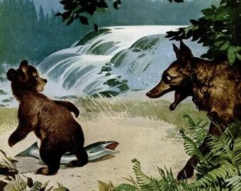 1944 Imperial Whiskey Liquor & Wilson Brothers Mens Fashion Ad Vintage Bear Wolf Fish Woodland Animal Wildlife Illustration Wall Art Decor