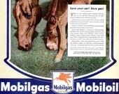 1944 Mobilgas Mobiloil Horses Goodyear Pliofilm Advertisement Print Poster Equestrian Pony Flying Red Horse Wartime Wall Art Home Decor