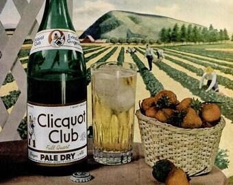 1946 Clicquot Club Ginger Ale & Seagrams V.O. Canadian Whiskey Liquor Ads Print Ad Poster Bar Pub Restaurant Cotton Farm Wall Art Home Decor