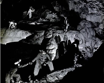 1946 Cave Explorers West Virginia Life Magazine Photo Black & White Mining Mine Adventure Exploration Explorer Wall Art Home Decor