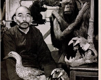 1946 Chinese Pharmacist Oddities Photo Print Poster Black White Traditional Medicine China Duck Turtle Tiger Crab Wall Art Home Decor