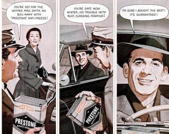 1951 Prestone Anti Freeze & Koolfoam Pillow Ads National Carbon Company Mechanic Shop Garage Automobile Car Wall Art Home Decor