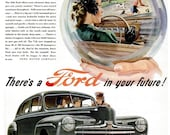 1946 Ford Car Telechron Electric Clocks Advertisement Print Ad Poster Automotive Automobile Mechanic Shop Garage Auto Wall Art Home Decor