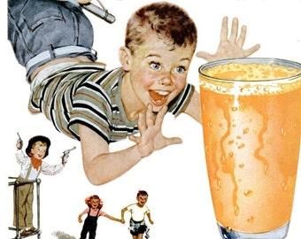 1954 Florida Orange Juice Advertisement Print Poster Breakfast Restaurant Diner Kitchen Dining Room Citrus Fruit OJ Wall Art Home Decor
