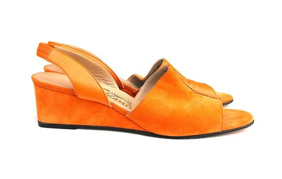 1960s Salvatore Ferragamo Wedge Sandals Rare Mid Century Mod Era Italian Designer Tangerine Orange Leather and Suede Ladies' Slingback Shoes
