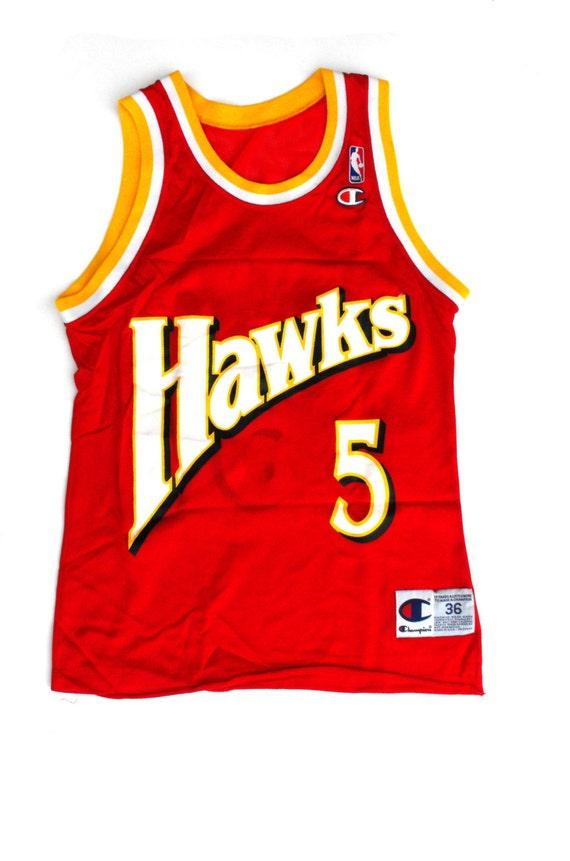 Danny Manning Jersey Atlanta Hawks #5 NBA Vintage Retro Size 36 Adult Small National Basketball Association Wake Forest Coach