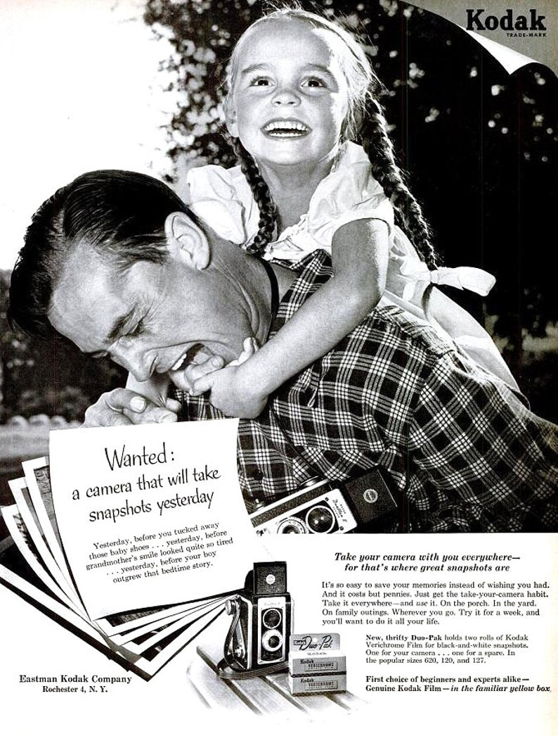1953 Kodak Camera Film Advertisement Ad Print Poster Photography Father  Daughter Piggyback Wall Art Home Decor