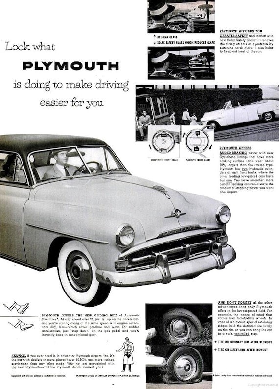 1952 plymouth car advertisement print poster wall hanging art etsySimilar Plymouth Automatic New Power Automatic New Plymouth #11