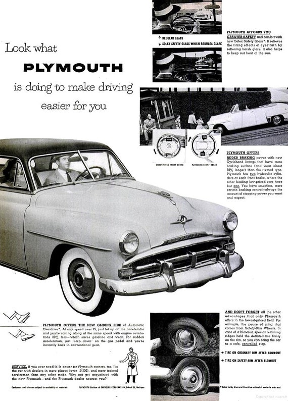 1952 plymouth car advertisement print poster wall hanging art etsy
