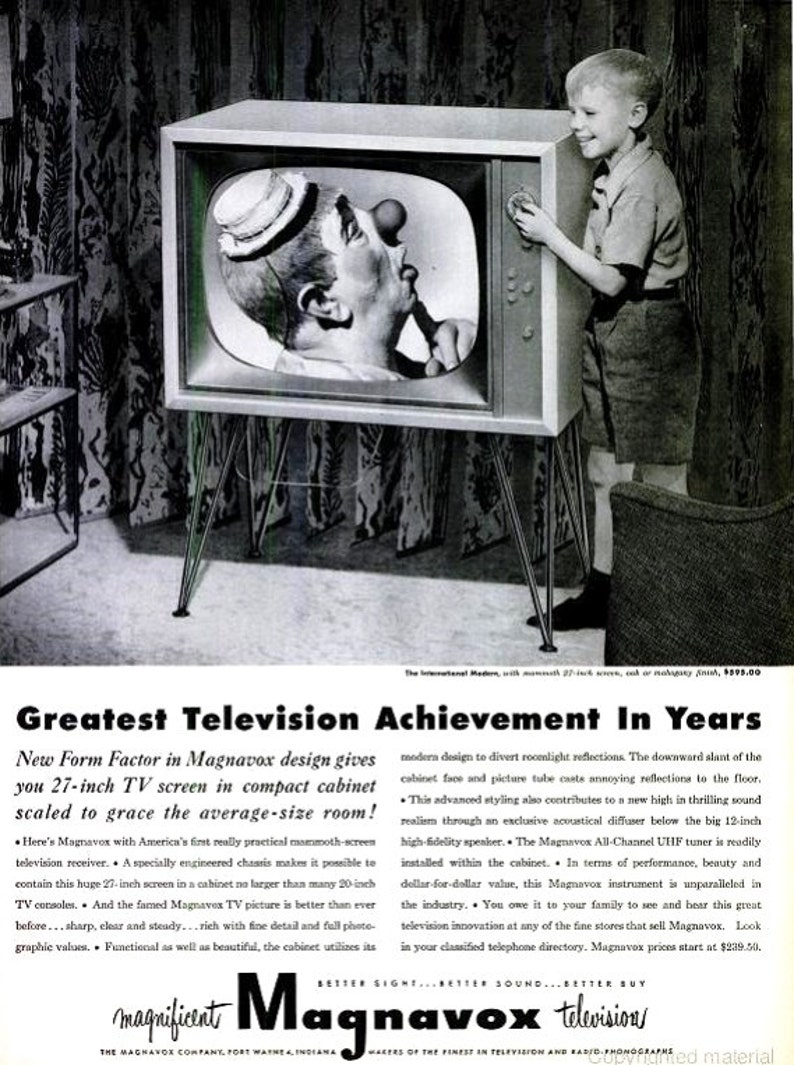 1952 Magnavox TV Advertisement Print Poster Bozo Clown Entertainer  Nostalgic Black & White Wall Hanging Art Home Decor Black and White Ad