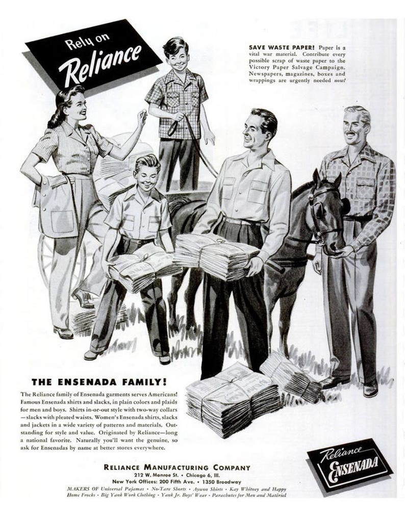 1944 Reliance Manufacturing Company Clothing Advertisement Print Poster  Ensenada Black & White Wartime World War 2 WWII Wall Art Home Decor