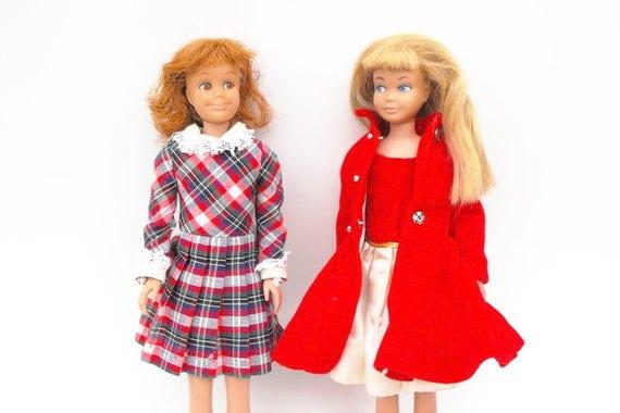1963 Skipper Doll Vintage Original First Barbie Little Sister Fashion Toy Mod 60s Girl Blonde Straight Leg Retro Red White Swimsuit Flats