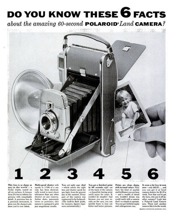 1955 Polaroid Land Camera Advertisement Print Ad Poster Black   Etsy