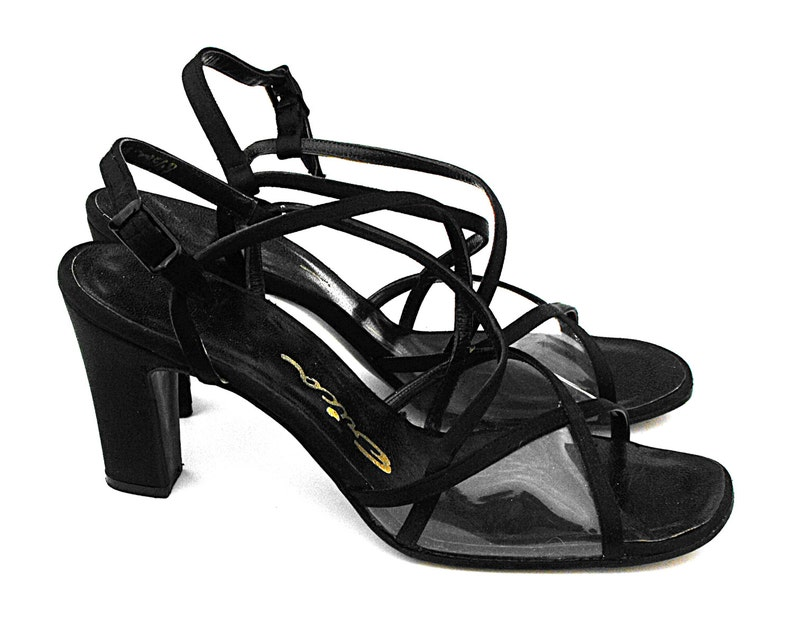 84dee8f3bb2 60s Black Satin Erica Pumps Vintage Criss Cross Clear Vinyl Slingback  Chunky High Heels with Sexy Ankle Straps Retro Designer Dancing Shoes