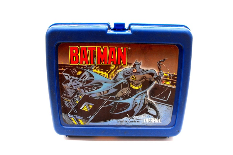 548adc3f16c7 Vintage Batman Lunch Box 1991 DC Comics Blue Thermos Brand School Lunchbox  with Original Sticker Tag Gotham City Superhero Retro Boys Gift