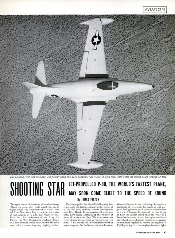 1945 WWII Military Jet P-80 Shooting Star Life Magazine Article Photo  Typography Wartime World War Two WW2 Militaria Wall Art Home Decor