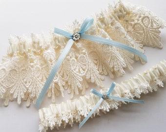 df5f82f378a3 Lace Garter, Wedding Garter Set with Blue Satin Ribbon Bow and Swarovski  Crystal Centering - The ALICIA Garter Set