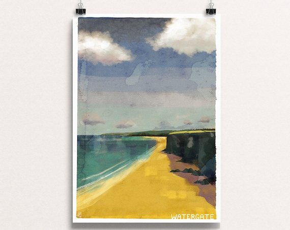 Watergate Bay - Signed Cornish Coasts Giclee Print