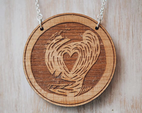 Fox & Cub Necklace - Cherry wood veneer