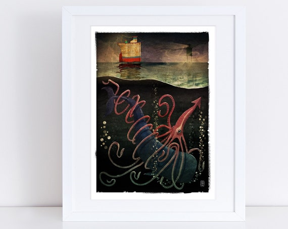 Squid & Whale - Signed Print from The Cruel and Curious Sea II exhibition