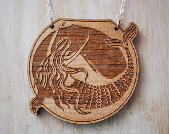 Mermaid & Whale Necklace - Cherry wood veneer