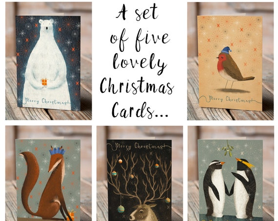Christmas Creatures | Set of 5 Greetings Cards