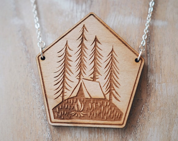 Tent & Trees Necklace - Cherry wood veneer