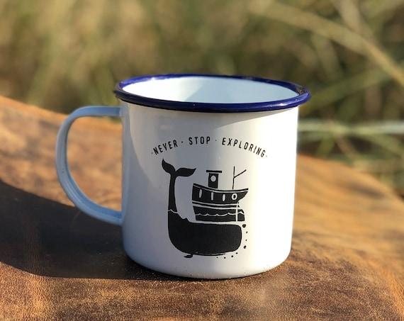 Whale & Boat 2017 - Etched Enamel Mug