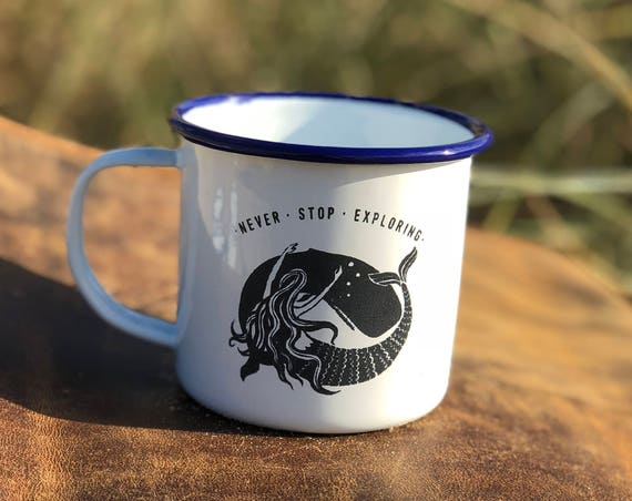 Whale & Mermaid 2017 - Etched Enamel Mug