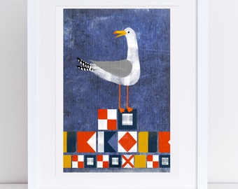 Seagull & Flags - Signed Print