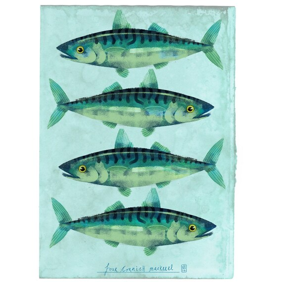 Cornish Mackerel - Signed print