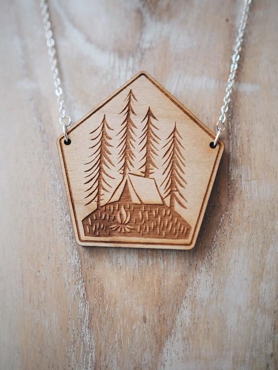 Tent & Trees Necklace - Cherry wood veneer