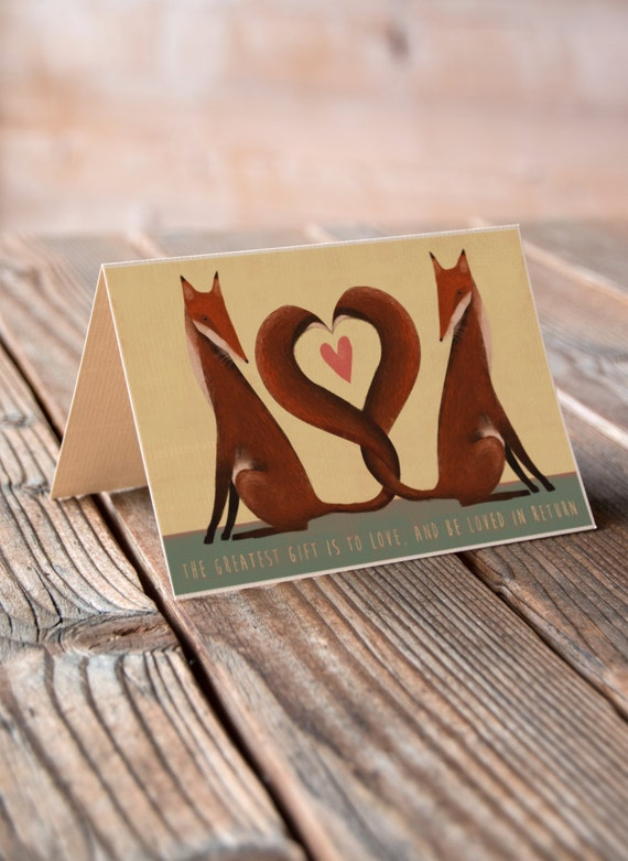 Foxes Greeting Card - Valentines, Anniversary, Wedding, Engagement Card
