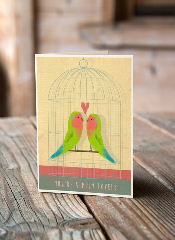 Lovebirds - Valentines, Anniversary, Wedding, Engagement Card