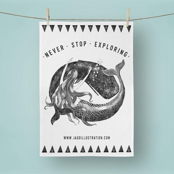 Mermaid & Whale - Tea Towel