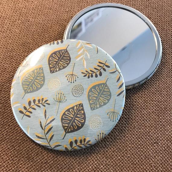 Seeds & Leaves (Blue) - Pocket Mirror