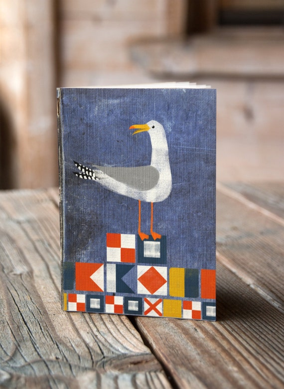A6 Seagull and Flags - Notebook / Sketchbook / Journal