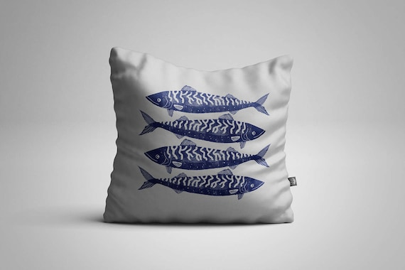Four Cornish Mackerel Cushion (Cover only)